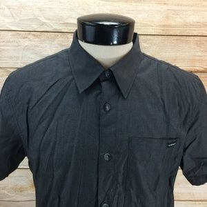 New Oakley Button Front Shirt M SS  Dark Gray